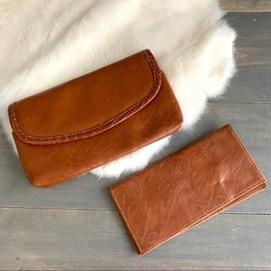 Tan Faux Leather Clutch and Wallet Set